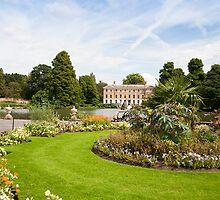 Flower Beds, Lake and House: Kew Gardens, London, UK by DonDavisUK