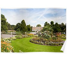 Flower Beds, Lake and House: Kew Gardens, London, UK Poster