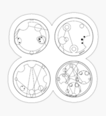 Sticker set: allons-y, fantastic, geronimo, and wibbly wobbly timey wimey  Sticker