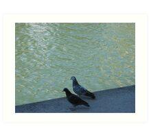 Parisian pigeons, Quai de la Marne Art Print