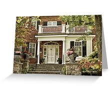 Red Brick House in Autumn Greeting Card