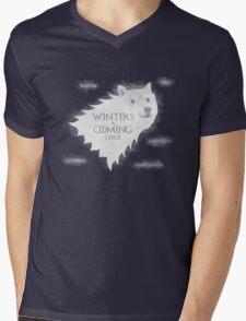 Winters a Coming Mens V-Neck T-Shirt