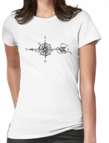 Compass with arrow Womens Fitted T-Shirt