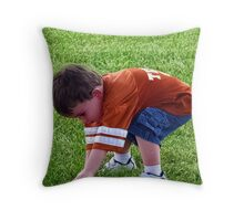 A boy and his frisbee... Throw Pillow