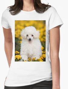 White poodle puppy in flowers Womens Fitted T-Shirt