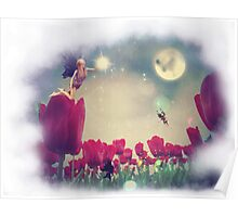 Fairy and Tulips Poster