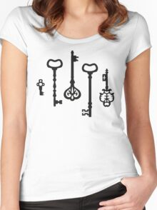 Victorian black & white Keys Women's Fitted Scoop T-Shirt