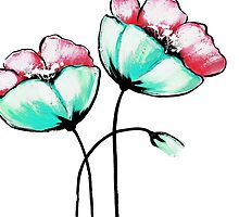 Beautiful Pink & Teal Watercolor Painted Flowers by Blkstrawberry