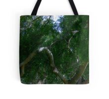 Study in Light and Shadow: Lush Foliage and Tangled Branches Tote Bag