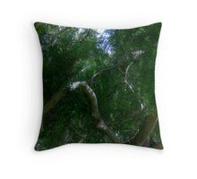 Study in Light and Shadow: Lush Foliage and Tangled Branches Throw Pillow