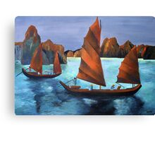 Junks In the Descending Dragon Bay Canvas Print