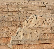The Sculpted Wall Panel At Hampi by Indrani Ghose