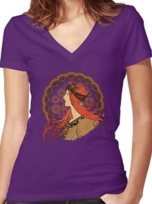 Steampunk Zodiac (Mucha Homage) Women's Fitted V-Neck T-Shirt