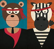 Animal's Gangsta - Bear & Zebra by Ellair