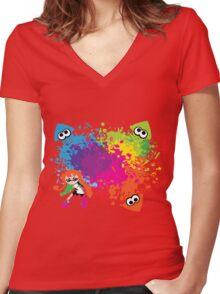 Splatoon - Ink Burst Women's Fitted V-Neck T-Shirt