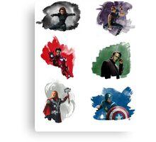 The Avengers + Watercolours Canvas Print