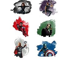 The Avengers + Watercolours Photographic Print