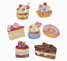 Watercolor sweet cakes, pie, donut One Piece - Long Sleeve