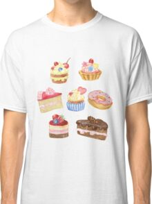 Watercolor sweet cakes, pie, donut Classic T-Shirt