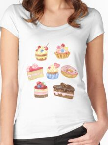 Watercolor sweet cakes, pie, donut Women's Fitted Scoop T-Shirt
