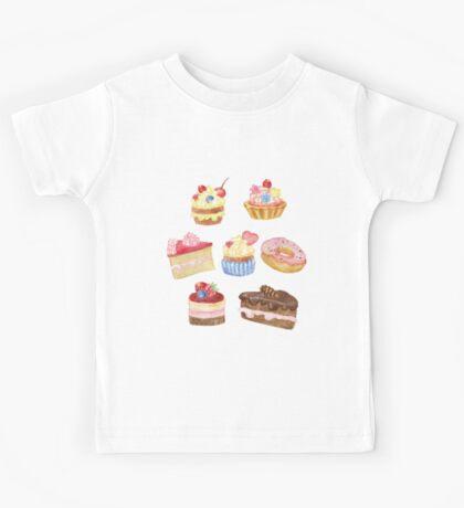Watercolor sweet cakes, pie, donut Kids Tee