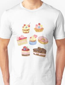 Watercolor sweet cakes, pie, donut Unisex T-Shirt