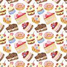 Watercolor sweet cakes, pie, donut by Tatiakost