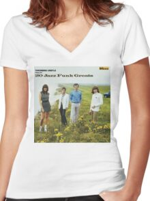 THROBBING GRISTLE - 20 JAZZ FUNK GREATS Women's Fitted V-Neck T-Shirt