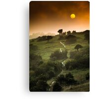 Full Moon Landscape at Sunset Canvas Print