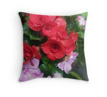 the red begonia Throw Pillow