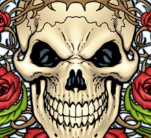Skull with Roses and Crown of Thorns by Al Rio Sticker