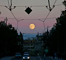 Moonrise over the Prague by Karel Kuran