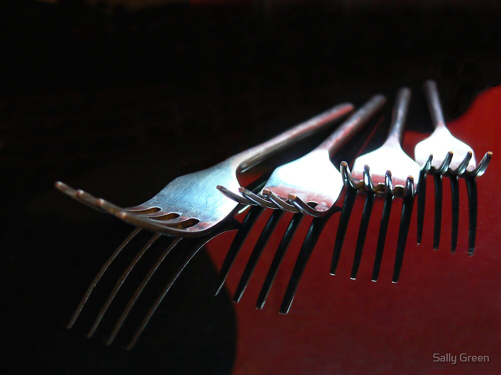 Forks in Red and Black by Sally Green