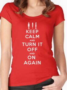 Keep Calm and Turn it Off and On again Women's Fitted Scoop T-Shirt