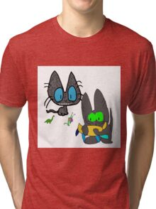 Cats with Toys Tri-blend T-Shirt