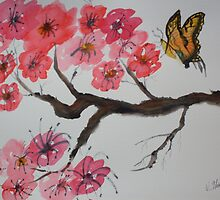 Butterfly and Blossoms by Warren  Thompson