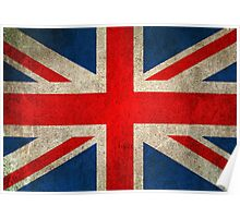 Old and Worn Distressed Vintage Union Jack Flag Poster