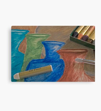 Oil Pastel Vases Canvas Print