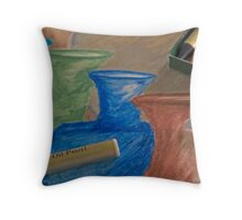 Oil Pastel Vases Throw Pillow