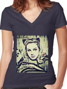 batgirl was a librarian Women's Fitted V-Neck T-Shirt
