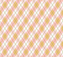 Pretty Preppy Pink & Gold Argyle Pattern by SmashingRetro