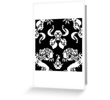 DRAGON PATTERN BLACK AND WHITE Greeting Card