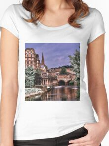 Victoria Art Gallery and Palladian Pulteney Bridge  Women's Fitted Scoop T-Shirt