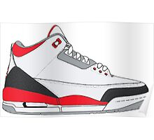 "Air Jordan III (3) ""Fire Red"" Poster"