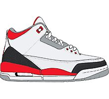 "Air Jordan III (3) ""Fire Red"" Photographic Print"