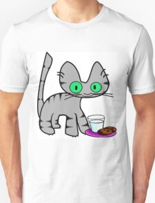 Kitty With Milk And Cookies T-Shirt
