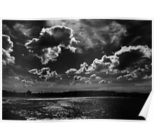 3D Clouds in Black and White, Bondi Beach Poster