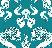 DRAGON PATTERN TEAL by veggiemuse
