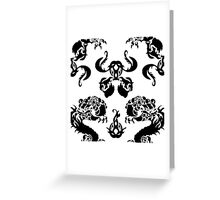 DRAGON PATTERN WHITE Greeting Card