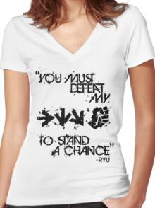 Ryu Win Quote Black Women's Fitted V-Neck T-Shirt